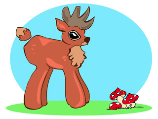 small deer with mushrooms