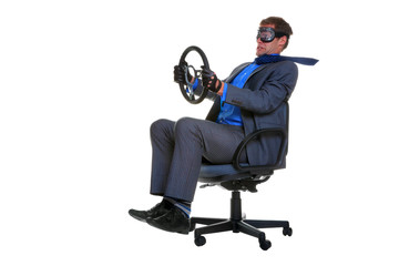 Businessman driving an office chair for his  business travel
