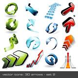 Fototapety vector icons: 3d arrows (set 2)
