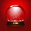 realistic illustration of an empty snowglobe on red
