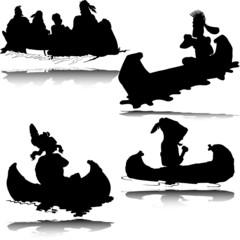 canoe illustration vector silhouettes