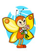 Cute cartoon butterfly with bouquet of flowers