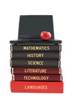 School subject books and laptop poster