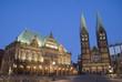 Bremer Marktplatz zur blauen Stunde