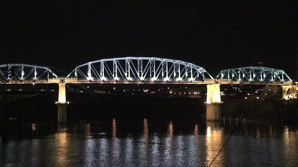 Nashville Tennessee Bridge at Night on Cumberland River