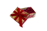 open gift box with filler isolated on white poster