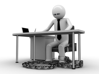 Man chained with office table (workplace) 3