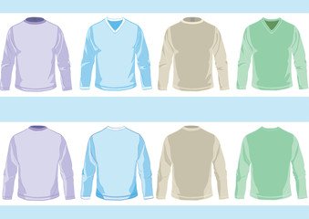 Collection of templates of long sleeve shirts