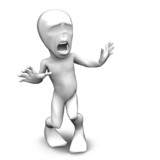 3d little person who very frightened, trembling in fear