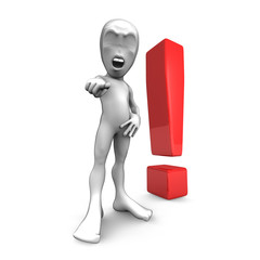 3d little person with exclamation marks. Attention