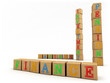 Finance concept - Child's play building blocks