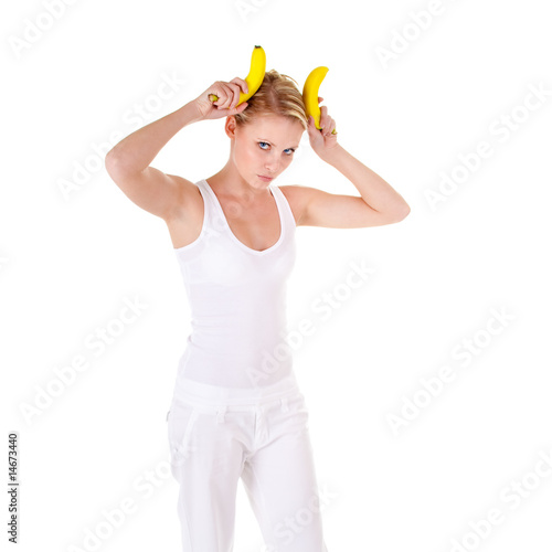 Young woman and banana