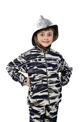 Little boy in a old fire helmet