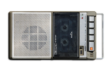 Retro compact tape recorder with clipping path