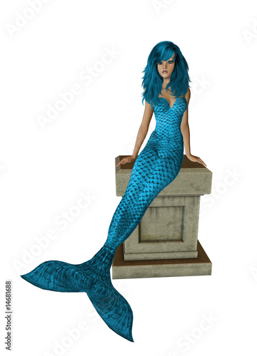 Baby Blue Hair Mermaid Sitting On A Pedestal