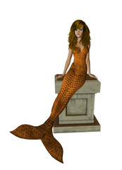 Orange Hair Mermaid Sitting On A Pedestal