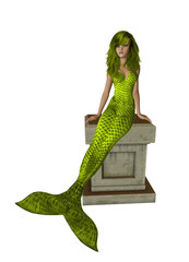 Yellow Hair Mermaid Sitting On A Pedestal