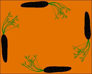 Karotten als Rahmen mit orangem Hintergrund