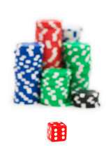 Casino chips and die isolated on the white background