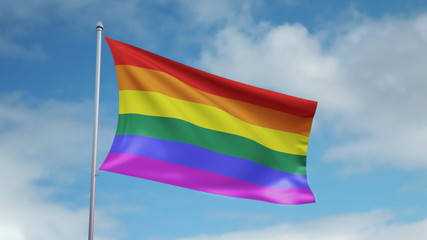 HD 1080p flag of gay movement. Seamless loop.