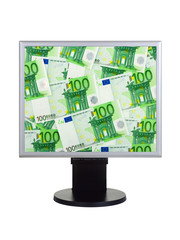 Computer monitor with money