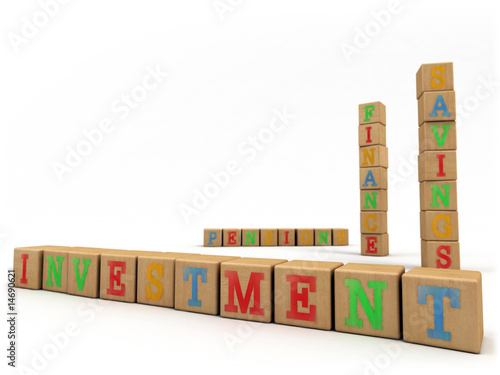 Investment concept - Child's play building blocks