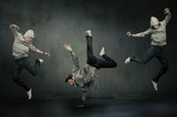 Fototapety Three hip hop dancers, expression