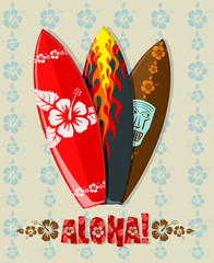 Vector illustration of aloha surf boards