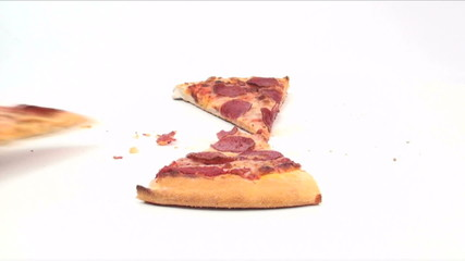 Pepperoni pizza grab time lapse - HD
