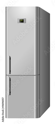 New modern domestic refrigerator isolated on white