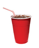 red plastic cup of soda with straw