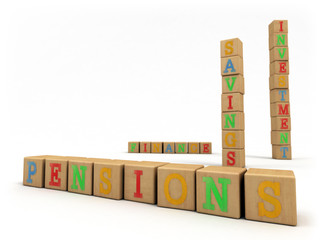Pensions concept - Child's play building blocks