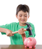 Boy with moneybox and hammer poster