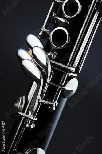 Leinwandbild Motiv Clarinet isolated on Black