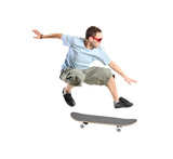 Fototapety A skateboarder jumping isolated on a white background