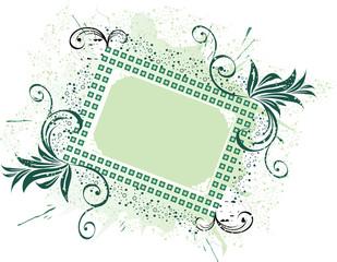 Dark green fantasy floral frame