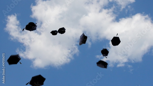 graduation - flying hats towards the sky, Full HD