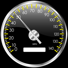 Chrome speedometer. Vector design element.