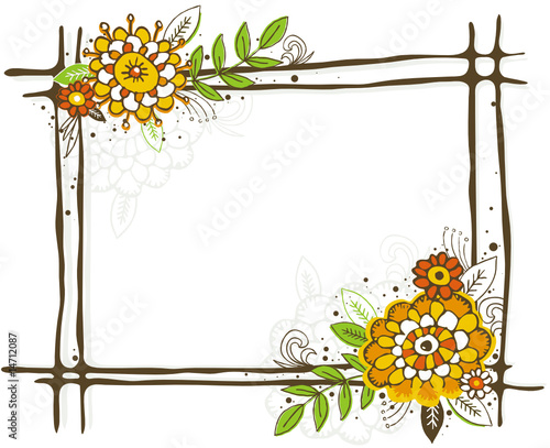 flower frame clipart. hand draw frame with flowers