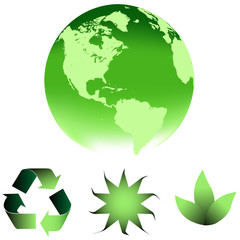 Green earth with environment symbols