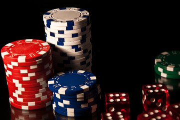 Casino Chips red and black and white and cubes