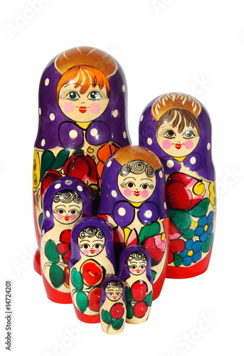 Russian nest-dolls on a white background