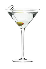 Martini with olive, isolated on white.