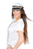 Beautiful woman in captains uniform with wind in the hair poster