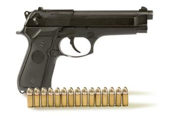 handgun  and .fifteen bullets