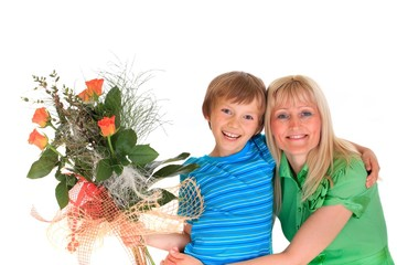 Boy with flowers for mom