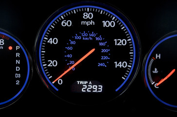 Sport car speedometer isolated on black