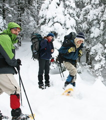 People in winter hiking