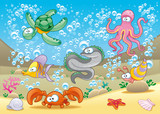 Family of marine animals in the sea