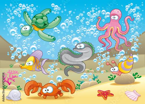 rodzina-zwierzat-morskich-na-morzu